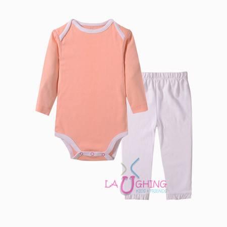 橘粉纯色女婴连体衫套装