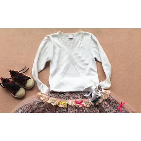 女童时尚白色系带针织开衫