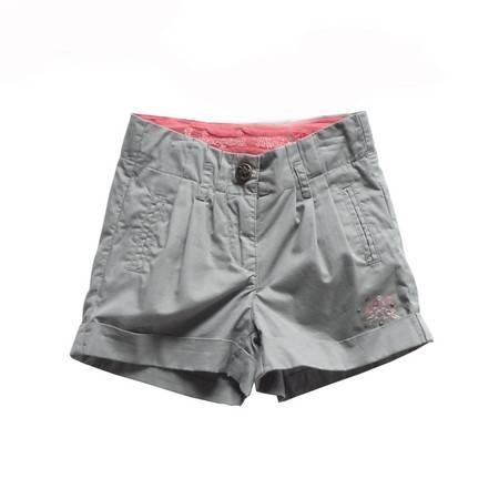 女童烟灰色绣花短裤热裤