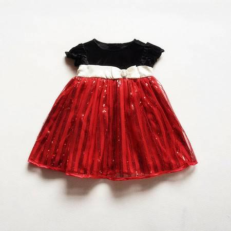 女童黑色上衣红色亮片短袖公主裙