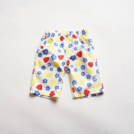 儿童树叶印花休闲热裤
