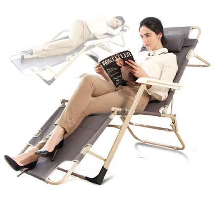 朗琦 升级版高档方管两用折叠椅 精品午休床咖啡色汉白玉扶手