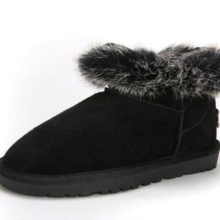 IVG2015新品专柜款 5538低邦兔毛真皮防水保暖靴子雪地靴女靴包邮
