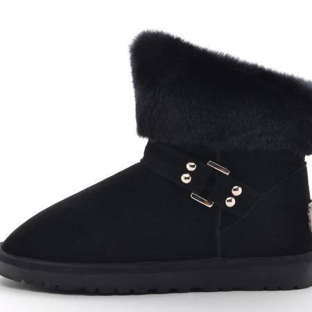IVG正品冬季雪地靴女子真皮经典套筒短靴平跟仿兔毛保暖鞋毛靴