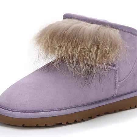 IVG2015冬季保暖 雪地靴 女靴子 狐狸毛低帮短筒靴子 包邮