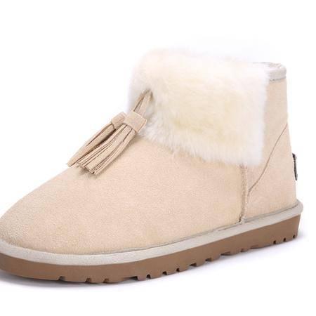 IVG新款澳洲冬季雪地靴女子真皮流苏套筒短靴平跟兔毛保暖鞋