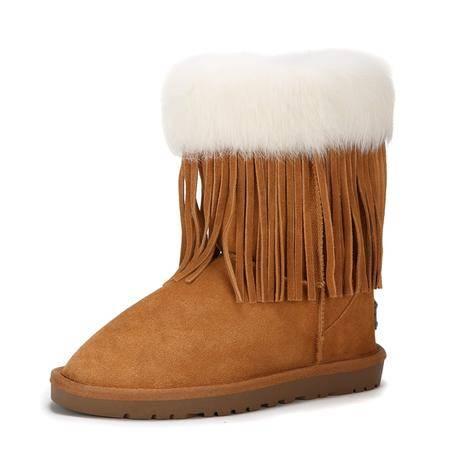 IVG正品雪地靴9682兔毛流苏中筒靴保暖女靴真皮牛皮羊毛牛筋底