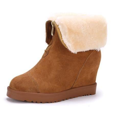 IVG欧美明星款内增高 拉链款 坡跟 高跟保暖时装靴 舒适鞋子 包邮