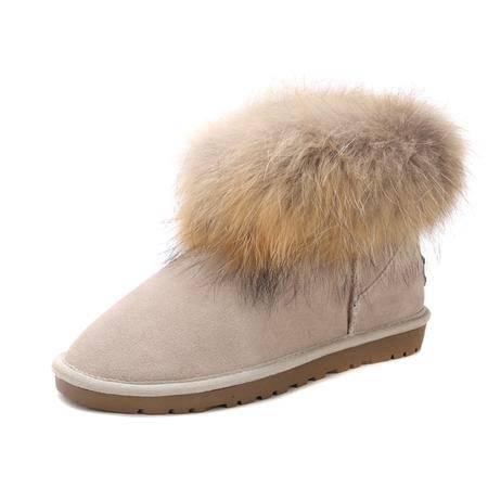 热销 IVG新款 狐狸毛雪地靴 5854低邦短筒短靴子 牛筋底雪地靴