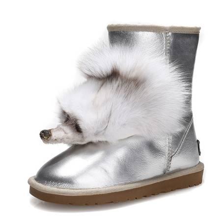 IVG2015 冬季5825狐狸头雪地靴 真皮防水 保暖奢华女靴子 包邮