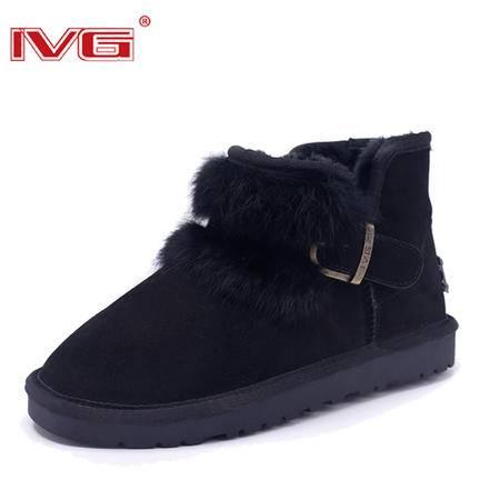 2015冬季IVG加厚毛绒平底防滑金属扣女靴短筒雪地靴