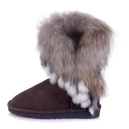 IVG2015 中筒印第安 民族风女鞋雪地靴中筒兔毛狐狸毛雪地靴