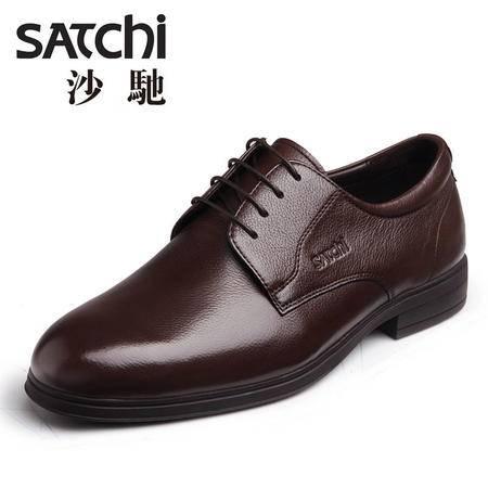 沙驰男鞋 时尚商务正装男士皮鞋真皮牛 圆头系带平跟低帮鞋男鞋