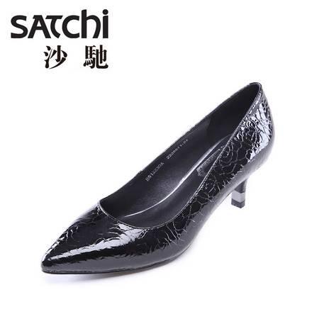 Satchi/沙驰女鞋 2015年初秋新款玫瑰花纹牛漆皮尖头高跟单鞋