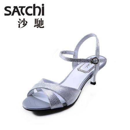 Satchi沙驰2015夏新款细跟高跟凉鞋女性感欧美细跟露趾女鞋