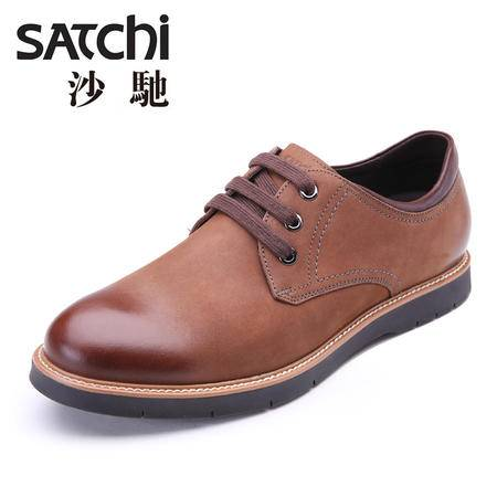 Satchi/沙驰2015秋季新款磨砂休闲皮鞋英伦时尚擦色男士皮鞋真皮
