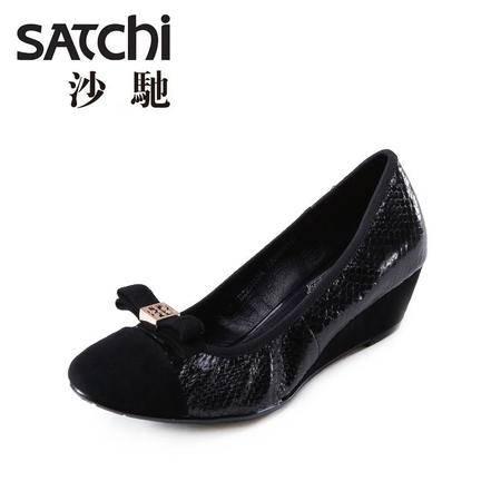 Satchi沙驰2015夏季新款蛇皮圆头休闲鞋 女士羊猄皮套脚单鞋