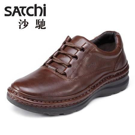 沙驰男鞋  秋季厚底增高男士皮鞋真皮 时尚系带户外运动鞋休闲鞋