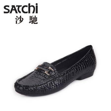 沙驰 2015春季时尚平跟女单鞋子圆头低帮浅口女士真皮休闲鞋