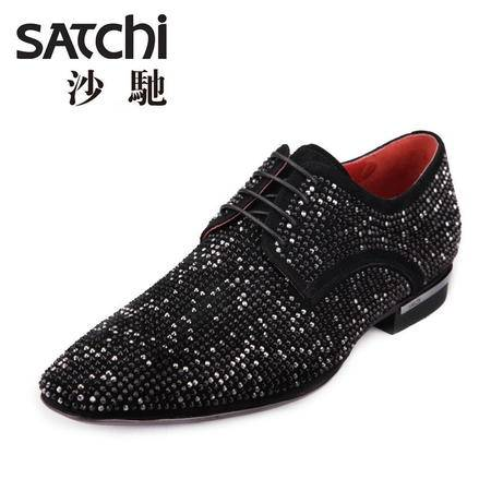 沙驰男鞋 2015新款英伦风亮钻男士休闲皮鞋 羊皮系带真皮低帮男鞋