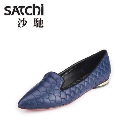 沙驰[星系列] 2015新款真皮尖头休闲鞋 女士压花羊皮套脚单鞋