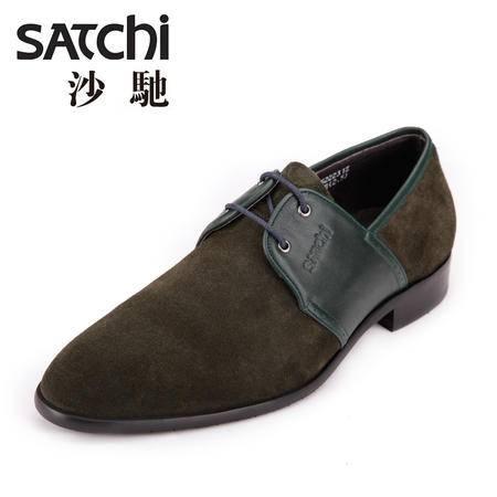 Satchi/沙驰沙驰2015新款男士英伦休闲皮鞋 头层牛皮磨砂皮男鞋