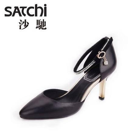 沙驰 2015夏季新款羊皮高跟鞋5-8CM真皮女鞋细跟凉鞋水钻皮带扣
