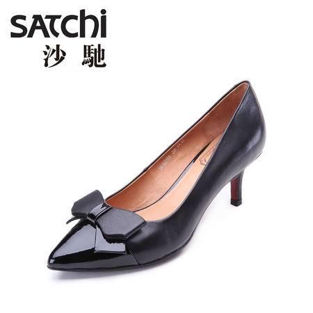 Satchi/沙驰2015秋季新款女鞋真皮时尚休闲鞋 套脚浅口舒适高跟鞋