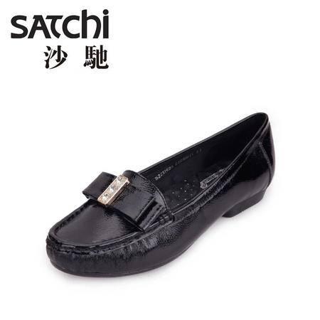 沙驰 2015春季新款女士休闲皮鞋真皮浅口软面女鞋舒适低帮单鞋