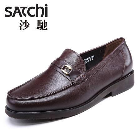 沙驰男鞋 时尚商务风男士皮鞋真皮 低帮套脚圆头休闲皮鞋流行男鞋
