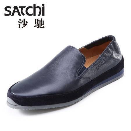 沙驰 男鞋 2015春夏新款男士皮鞋真皮 低帮套脚懒人鞋休闲鞋男