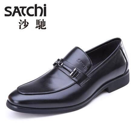 Satchi/沙驰2015夏新款男士真皮正装鞋英伦商务男鞋套脚低帮皮鞋
