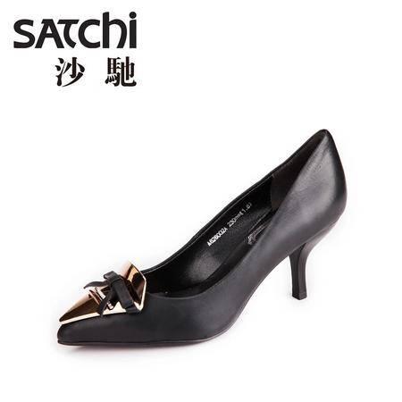 沙驰 2015新款头层牛皮女单鞋 尖头套脚羊皮内里高跟细跟女鞋