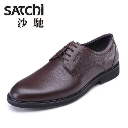 Satchi/沙驰2015秋季新款英伦风商务正装皮鞋系带摔纹皮鞋