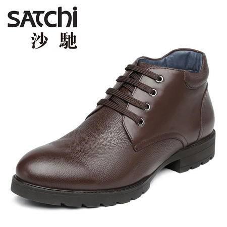 沙驰 冬季新款男士户外休闲皮靴 真皮短筒靴子无绒系带男靴