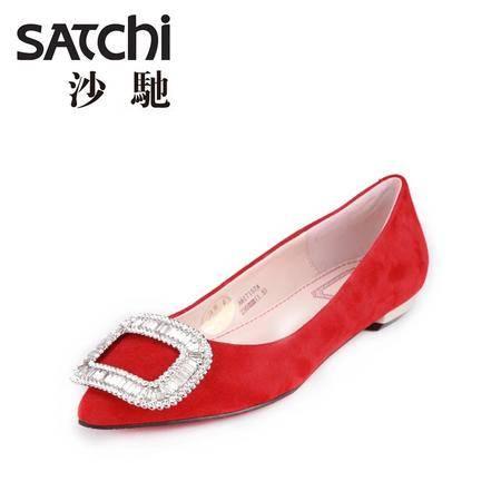 沙驰浅口平跟水钻纯色2015新款尖头羊皮女单鞋磨砂皮套脚低帮女鞋