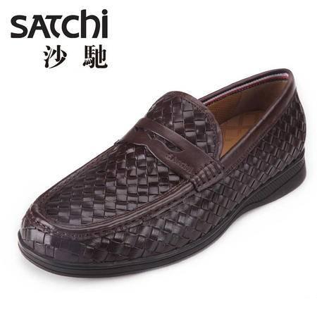 沙驰男鞋【高科技导气排湿功能大底】男士休闲皮鞋 编织套脚男鞋