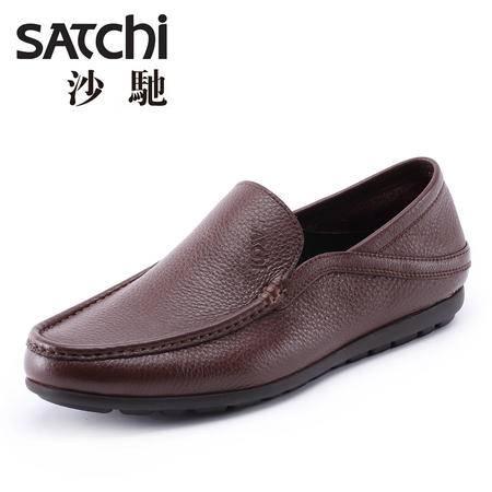 沙驰男鞋 2015年时尚英伦风商务休闲皮鞋  低帮套脚男士皮鞋真皮