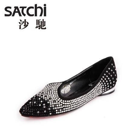 沙驰 2015新款时尚羊皮水钻真皮女鞋 平跟低帮鞋 女尖头皮鞋