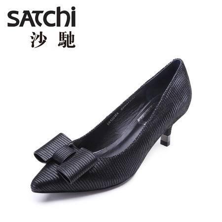 Satchi/沙驰女鞋2015秋新款高跟尖头蝴蝶结时尚单鞋细跟羊皮鞋