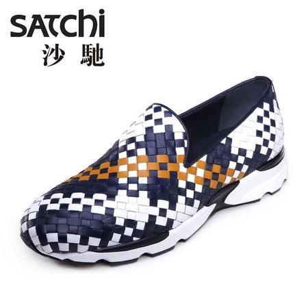 沙驰男鞋 夏季新款时尚英伦风男士皮鞋真皮 透气潮流单鞋休闲鞋男