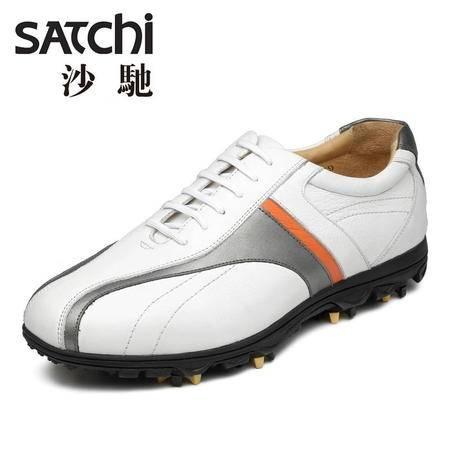 沙驰 男鞋 圆头系带平跟减震新款时尚高档专业高尔夫鞋全头层牛皮