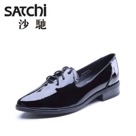 Satchi/沙驰女鞋2015年初秋新款英伦尖头系带低跟女鞋牛漆皮单鞋