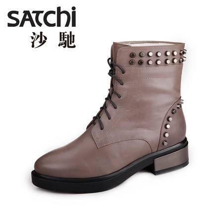 沙驰 2015春季新款英伦时尚马丁靴 真皮低跟中筒靴系带铆钉女靴子