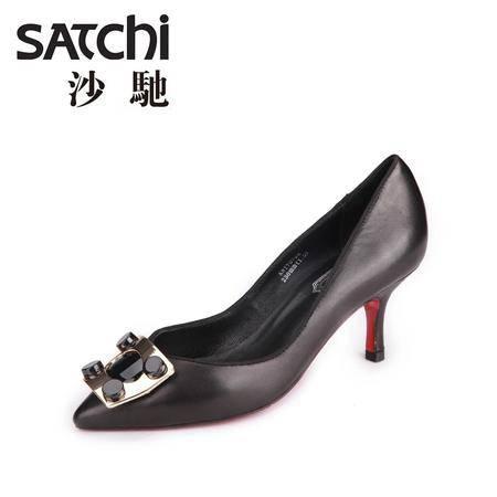 沙驰 2015新款时尚尖头羊皮女鞋 浅口细跟高跟鞋套脚低帮女鞋