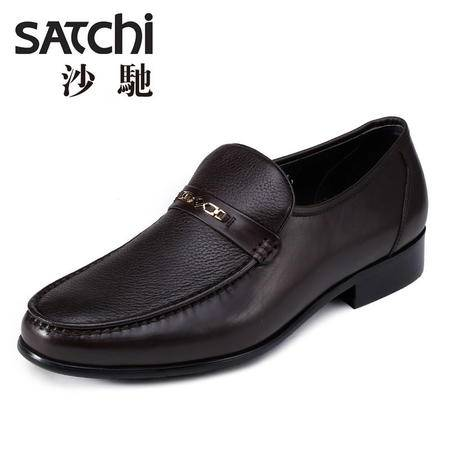 沙驰男鞋 2015夏季新款商务正装真皮皮鞋 套脚鹿皮男士休闲皮鞋