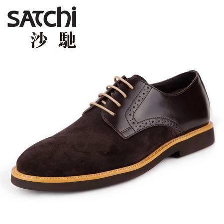 沙驰男鞋夏季真皮休闲鞋男鞋英伦青年商务男士休闲皮鞋系带透气