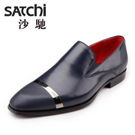 沙驰男鞋 2015春季英伦商务正装男士皮鞋真皮 套脚低帮圆头牛皮鞋