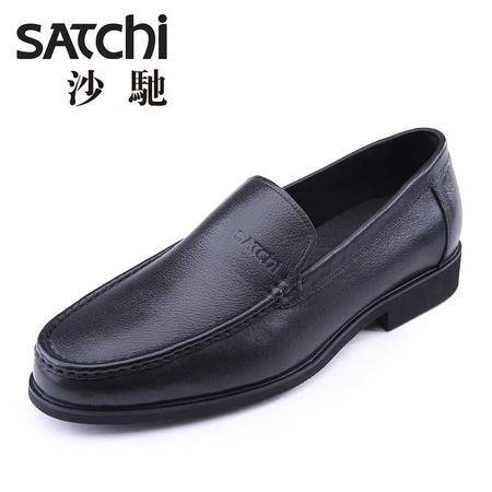 沙驰男鞋 时尚商务男士皮鞋真皮 套脚低帮圆头懒人鞋休闲鞋男