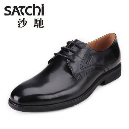沙驰男鞋 英伦商务正装男士皮鞋 系带低帮平跟真皮男鞋